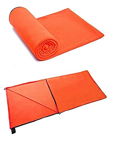 Butterme Polar Fleece Healthy Sleeping Bag Liner Outdoor Travel Sports Camping Sleeping Bag (Orange)