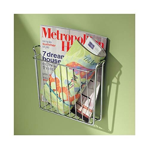 iDesign Zeitschriftensammler, kleiner Zeitungshalter für die Wand aus Metall, wandmontierter Zeitungsständer perfekt für das Badezimmer, silberfarben
