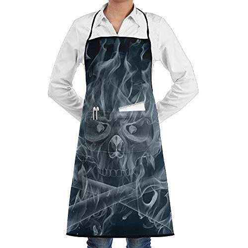 Sangeigt Küche, die Garten-Schürze kochtn, Bib Apron Pockets White Smoke Skull Bone Durable Cooking Kitchen ()