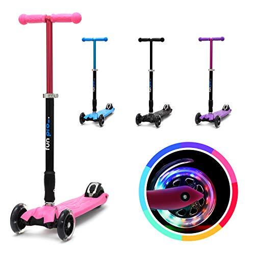 fun pro Two - ab etwa 5 Jahre, bis 80KG Gewicht, der sichere Premium Kinder Roller, LED Räder, faltbar, (Kickboard, Tretroller), TÜV geprüft (Pink)