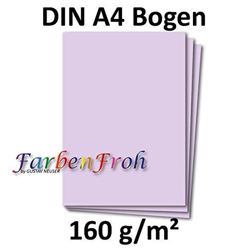 DIN A4 Papier Planobogen - Lila | 50 Stück | 160 g/m² | Bastelbogen - Briefpapier - Bastelkarte | 210 x 297 mm | formstabil | Printable für Drucker geeignet | PREMIUM Qualitätsmarke: NEUSER FarbenFroh