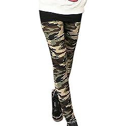 Mujer Camuflaje Diseño Cintura Elástica Leggins Pitillo - sintético, Verde Militar, 80% poliéster 20% algodón, Mujer, Extra Chica (EU 32)