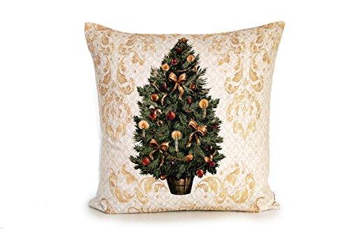 """beties """"Weihnachts-Schrift"""" Kissenhülle ca. 50x50 cm in Farb,- Motiv- und Sortimentsauswahl, weihnachtliches Ambiente für alle Lebens- und Einrichtungsstile (Tanne-Elfenbein)"""