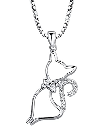 Sterling Silver Cat W. Bow Tie and Cubic Zirconia Pendant Necklace Come with Italian Box Chain