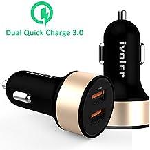 [Qualcomm Certificado] iVoler Dual Quick Charge 3.0 36W 2 Puertos USB Cargador de Coche [2*QC 3.0 Puerto] para iPhone, iPad,Samsung Galaxy S7/S7 Edge/S6,LG G5,Asus Zenfone 3,Nexus 6P/5X y más -Negro