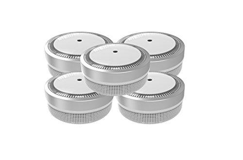 Jeising Mini Rauchmelder 5er Set - RWM100-Silber 10 Jahre Lithium Batterie - VDS geprüft