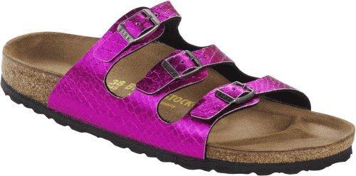 Birkenstock Damenschuhe Florida BF Anaconda, Shiny Schlangenoptik, Pink (pink), EU 35, Schmal (Florida Footbed Soft)