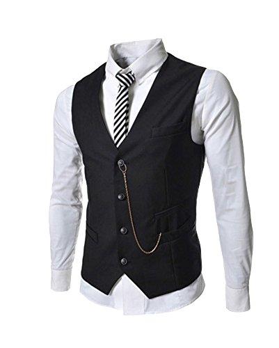Gilet per uomo slim fit casual giacca panciotto skinny cardigan smanicato corpetto blazer nero l