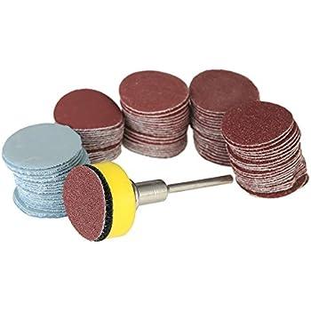 Lot de 100 disques abrasifs de 25 mm de 2,5 cm 100 feuilles de papier abrasif grain 100 3000 avec tige de 6,35 mm pour perceuse meuleuse outils rotatifs