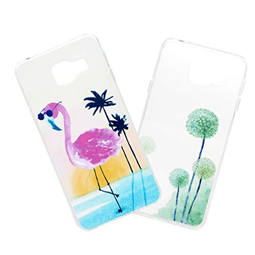 LaVibe Coque Samsung Galaxy A3 2016 Étui Gel Silicone TPU IMD Transparant Protecteur Housse Anti-Chute Pare-Chocs Bumper Souple Ultra Slim Flexible Soft Case Cover - Verres Flamingo