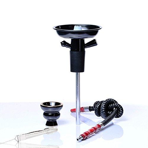 Shisha Hooksh Set/Kit Tragbar Portable Aluminium mit Kamin Keramik Rohr Stange Kohlenklammer Geeignet für die Meisten Plastikflaschen Glasflasche Wein Champagner- Schwarz -