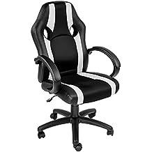 TecTake Bürostuhl Racing Chefsessel Sportsitz mit gepolsterten Armlehnen schwarz - weiß