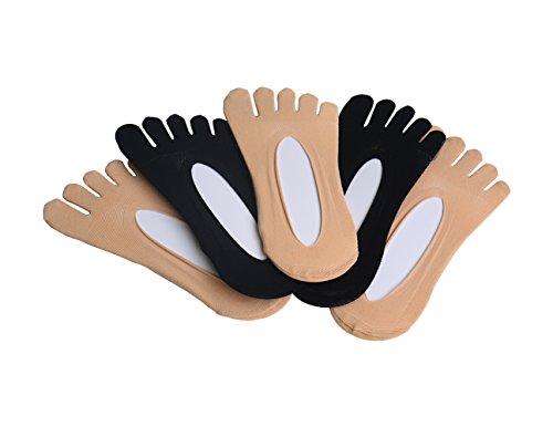 Zehensocken, Byinwin 5 Paar Frauen Fünf Socken KEINE Show Cotton Liner Socken, Mikrofaser Ultra Low Cut Liner mit Gel Tab -