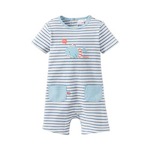 Bornino Spieler Wal - gestreifter Playsuit für Babys mit aufgesetzten Taschen & Druckknöpfen auf der Rückseite + im Schrittbereich - Offwhite/blau