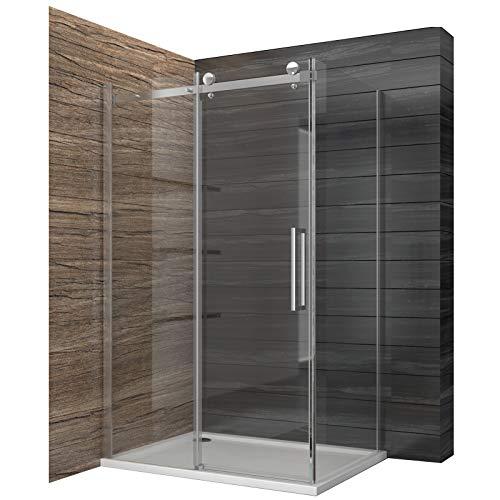 duschtrennwand eckeinstieg Dusche Duschkabine Duschabtrennung 120x195cm Duschtür Duschwand aus Sicherheitsglas mit Seitenwand 90x195cm