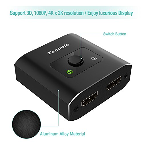 HDMI Splitter, Techole Aluminum HDMI Switch Bi-direction 1 In 2 Out or 2 Input to 1 output Manual HDMI Switcher, Support 4K 3D 1080P, Plug and Play for Xbox, PS4, PS3, Roku, Blu-Ray player, DVD, HDTV and More [Updated]