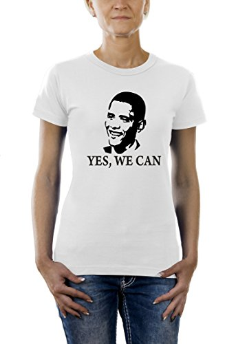 Touchlines Damen T-Shirt Barack Obama YES WE CAN, white, L, TL106 (Barack T-shirt Obama Weißes)