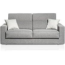 Sofá Cama apertura italiana tapizado en tela gris oscuro con cojines gris claro
