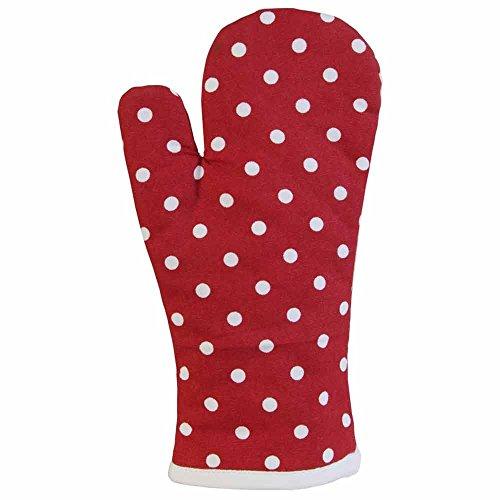 Homescapes - Pur Coton - Gant de Cuisine - À Pois - Rouge Blanc - 18 x 32 cm - Linge de Cuisine Entièrement Coordonné et Lavable