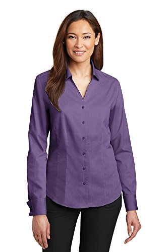 Pinpoint Oxford (Red House® - Ladies French Cuff Non-Iron Pinpoint Oxford Shirt. RH63 Purple Dusk)