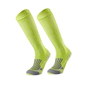 Uonlytech Unisex Long Sport Socks Sports Compression Socks Long Leg Socks for Running Athletic Sports Hiking Flight Travel (Green for 35-38 Yard)