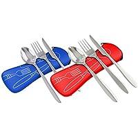 Acero inoxidable de 3piezas (cuchillo, tenedor, cuchara) ligero, cubertería de camping de viaje con funda de neopreno,rojo y azul, pack de 2