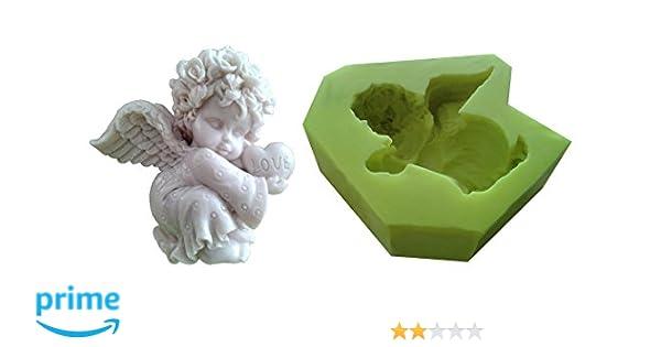 auch f/ür Kerzen geeignet Inception Pro Infinite Silikonform f/ür den handwerklichen Gebrauch eines Engelskindes mit Einem Herz in der Hand