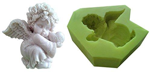 Inception Pro Infinite Silikonform für den handwerklichen Gebrauch eines Engelskindes mit Einem Herz in der Hand - auch für Kerzen (Baby Engel Mit Flügeln)
