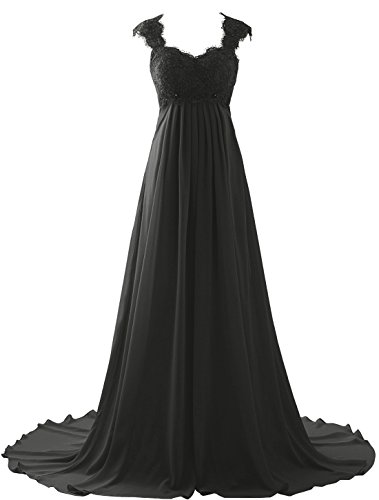 Erosebridal Spitze Chiffon Strand Hochzeitskleid Formal Abendkleider Schwarz DE50W