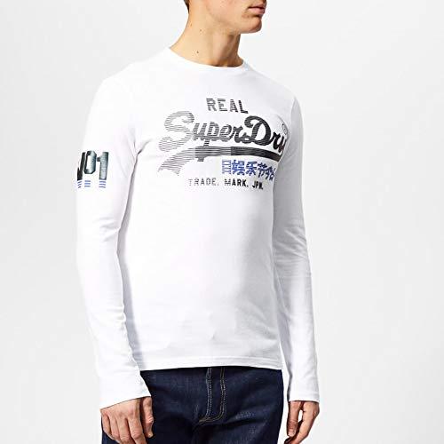 978317524 Superdry Men's Vintage Logo 1st Duo Long Sleeve T-Shirt - Optic - L - White