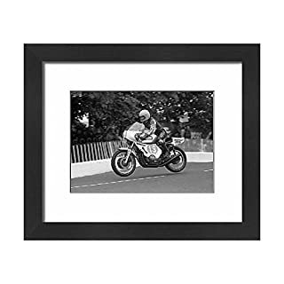 Media Storehouse Framed 10x8 Print of Joey Dunlop (Benelli) flies Ballaugh Bridge 1978 F2 TT (5141020)