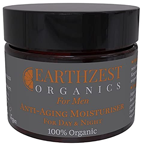 Moisturiser for Men - 100% Organic Anti Ageing Skincare Used By Lee Wakefield - our Anti Wrinkle Face Cream Works Best for Dry, Sensitive or Mature Skin - Use This Anti Aging Frankincense Balm as Firming and Plumping During Sleep on Neck & Chest, or as an All Natural Day Time Hydrating Moisturiser - Ideal Gift - Highly Concentrated, Effective and Long Lasting - Handmade in Britain by Earthzest Organics, 50ml - Love it or Your Money