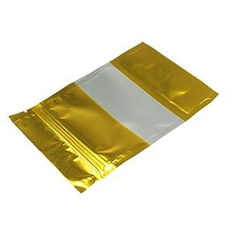 KUNSE 100Pcs Gold Aluminiumfolie Stand Up Bags Zip Lock Mylar Pouches Mit Window Food Grade