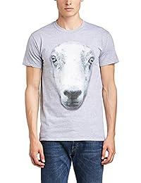 Printed Wardrobe Men's Big Face Animal Sheep Crew Neck Short Sleeve T-Shirt