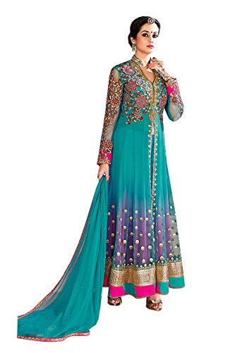 Pink City Green Color Net Incredible Salwar Kameez in Achkan Style 67891 Net Salwar