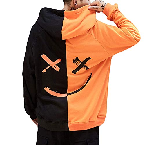 Realde Herren Langarm Hoodie Pullover Cool Mode Smiley-Gesicht Rundhalsausschnitt Tops Youth Männer Herbst und Winter Lang Geschnittenes T-Shirt Sport Yoga Atmungsaktiv Bluse -