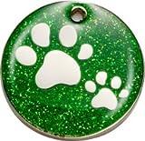 Pet-Tags Bow Wow Meow mit Personalisierung Grüne Haustiermarke Glitzernde Pfote (Mittel) | GRAVURSERVICE | Personalisierte, Reflektierende, Glitzernde Haustiermarken für Hunde und Katzen