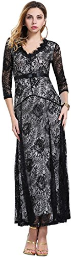 Jeansian Femmes Fashion Sexy Lady Lace Robe Longue Womens New Lace Flower Long Dress WHS001 Black