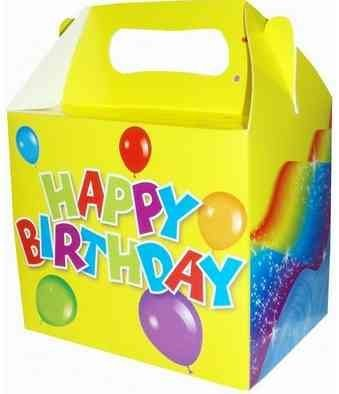 HAPPY BIRTHDAY ACTIVITY LUNCH MEAL BOX - FOOD GIFT BOXES - FAVOUR PARTY SUPPLIES, x 20
