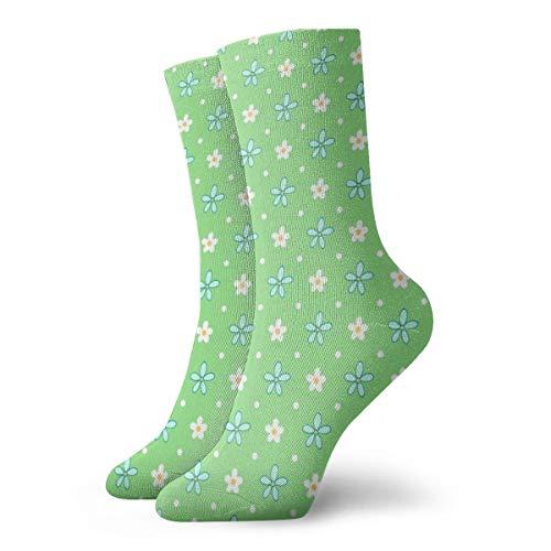 White Heart Lace Socken (MZZhuBao Classics Compression Socks,Little Blue And White Flowers - On Green Sport Athletic 11.8inch(30cm) Long Crew Socks For Men Women)