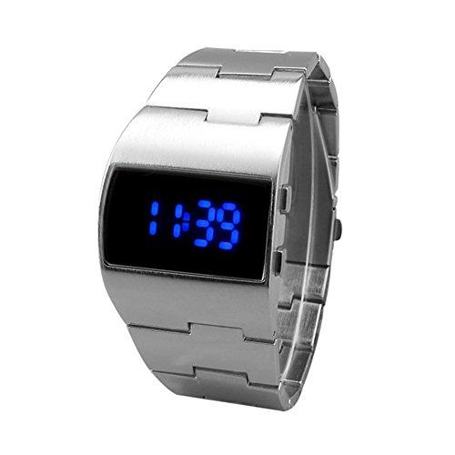 Relojes de Pulsera para Hombres - Dxlta Impermeable Reloj LED de Acero Inoxidable, Negocio Relojes Digitales...