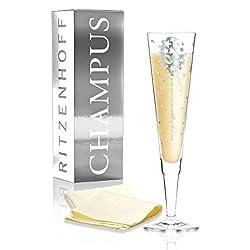RITZENHOFF Champus Jahrgangs-Champagnerglas 2018 von Kathrin Stockebrand, aus Kristallglas, 200 ml, mit edlen Platinanteilen, inkl. Stoffserviette