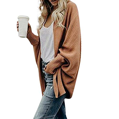iHENGH Damen Herbst Winter Cardigan Top,Women Lange ÄRmel Solid Color Casual Mantel Pullover Coat Strickjacke Tops (Solid-jersey-kleid)