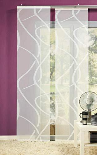 erfal Schiebevorhang Schiebegardine Flächenvorhang Raumteiler transparent 60 x 245 cm Vegas wellige Streifen lichtdurchlässig weiß