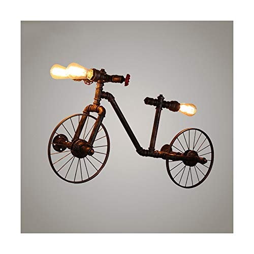 hten Retro Wasserrohr Wandlampen Loft Antike Bike Wandleuchte 3-Licht Industrie E27 Metall Wandlampe Rustikaler Fahrrad Steampunk Wandbeleuchtung für Wohnzimmer Schlafzimmer,A ()