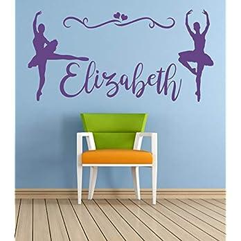 Personalisierter Name, Tänzer, Ballerina, Vinyl Wandkunst Aufkleber, Wandbild, Aufkleber. Haus, Wanddekoration, Kinderzimmer, Kinderzimmer, Spielzimmer Dekor.
