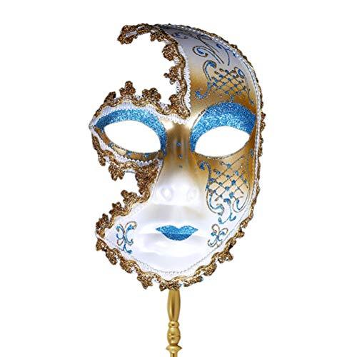 Zhuhaijq Glänzend Kostüm Party Maskerade Maske - Maske mit Abnehmbarem Stick für Damen und Herren Venezianischer Karneval Halloween Accessoire