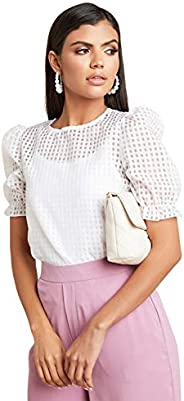 Checked Sheer Puff Sleeves Top For Women White Closet by Styli