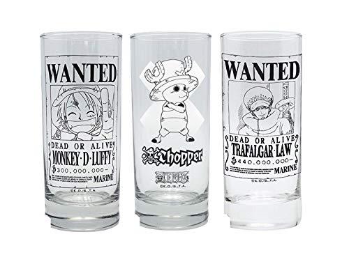 Glas Kostüm Bier - One Piece - Gläser 3er Set - Wanted - Luffy Ruffy - Tony Chopper - Trafalgar