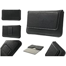 DFV mobile - Funda Estuche Cinturon Horizontal Piel Elefante Sintetica Premium para => SAMSUNG Galaxy Grand Prime > Negra